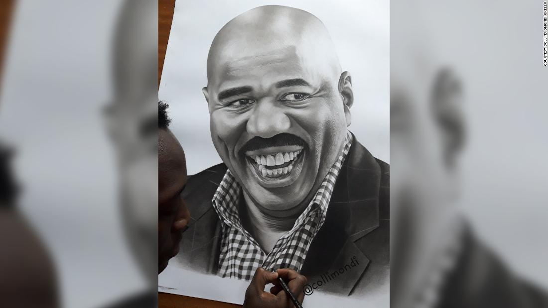 Comediantul american Steve Harvey oferă artistului kenian un impuls după un desen viral