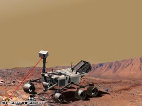 O ilustrare foto a unui vehicul echipat cu un laser care ar trebui să facă parte din laboratorul de știință Mars.