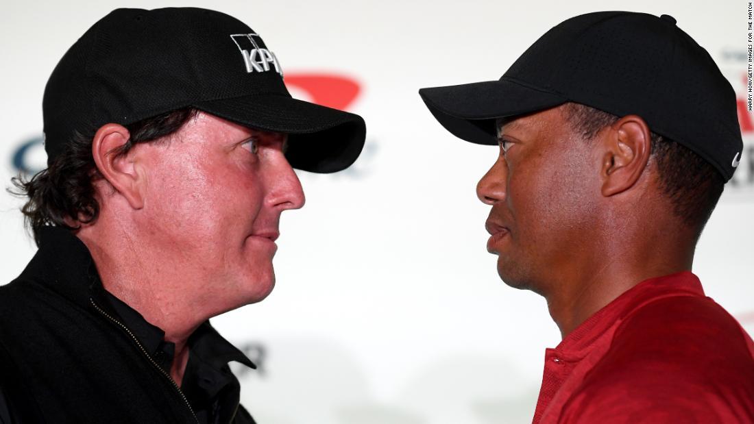 Tiger Woods și Phil Mickelson se pregătesc pentru revanșarea de caritate care îi implică pe Tom Brady și Peyton Manning