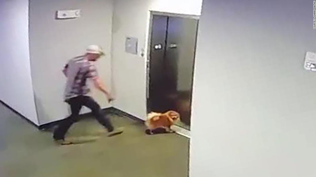 Video arată că omul care salvează câinele vecinului după ce lesa s-a blocat în ușile liftului